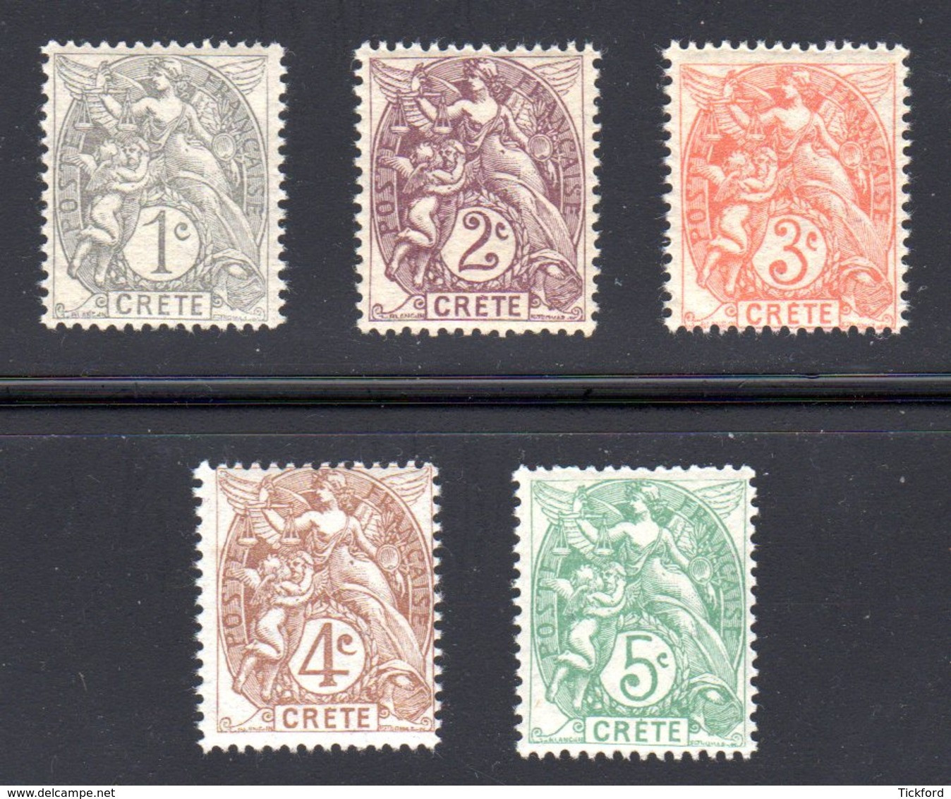 CRETE 1902 - Yvert 1/5 - NEUFS ** / MNH, TB - 5 Valeurs - Unused Stamps