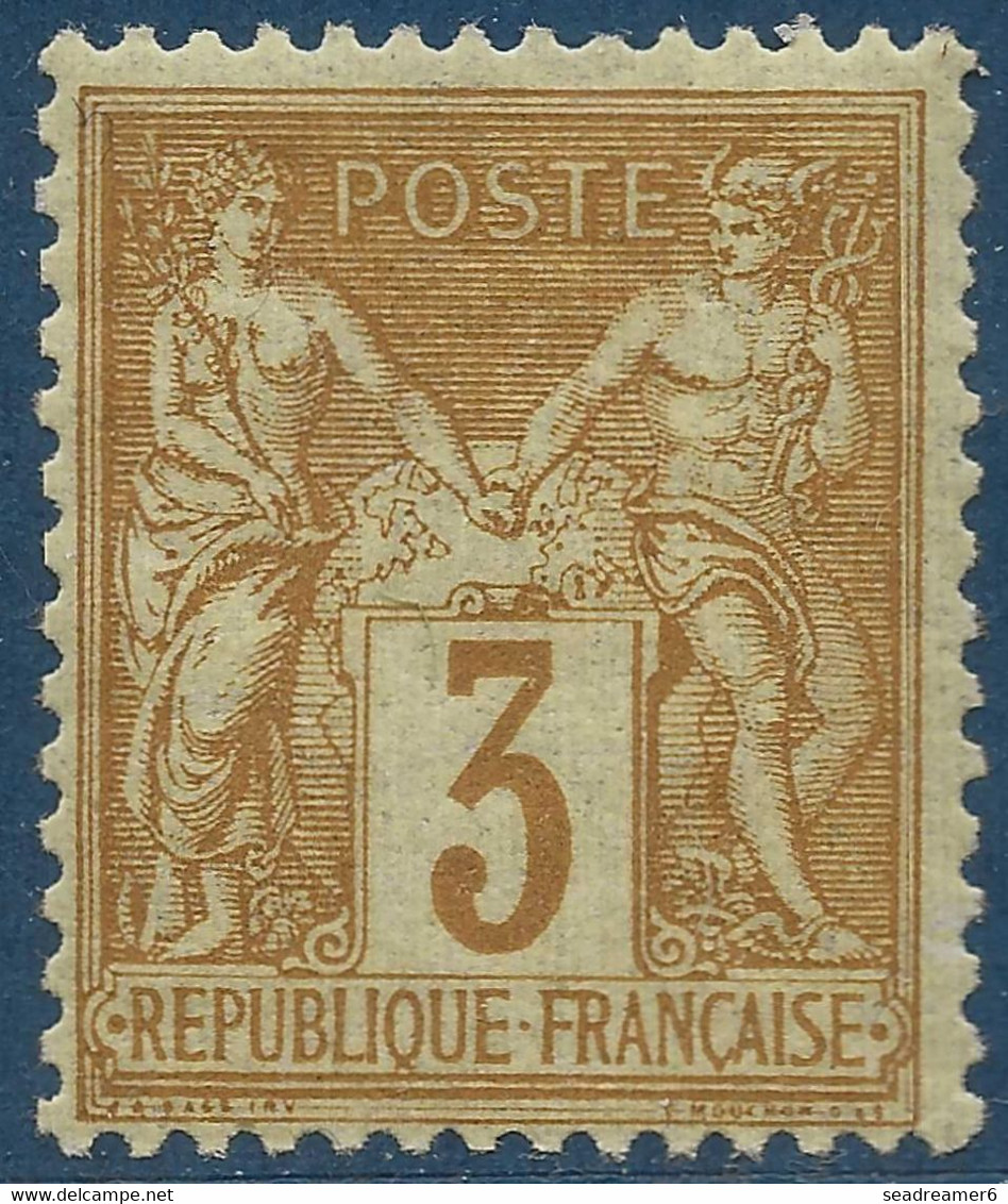 France Sage N°86* 3c Bistre Sur Jaune Superbe Fraicheur Signé Brun - 1876-1898 Sage (Type II)