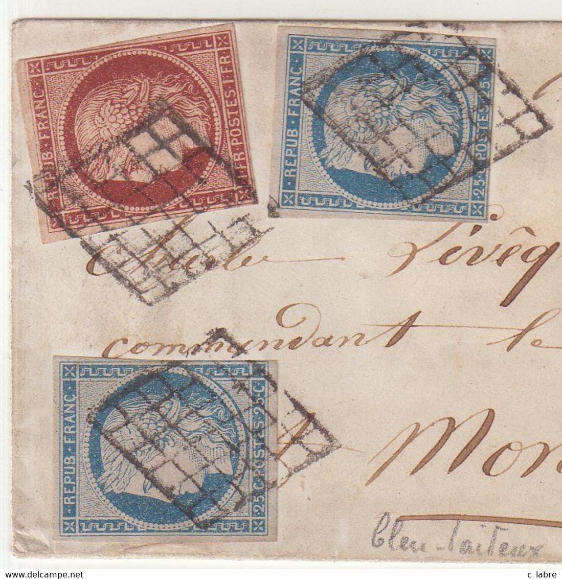 FRANCE : N° 4 . 2 EX . N° 6 . AU FILET . AFFRANCHISSEMENT A 1,50 F . POUR L'URUGUAY . 1852 . - 1849-1876: Classic Period