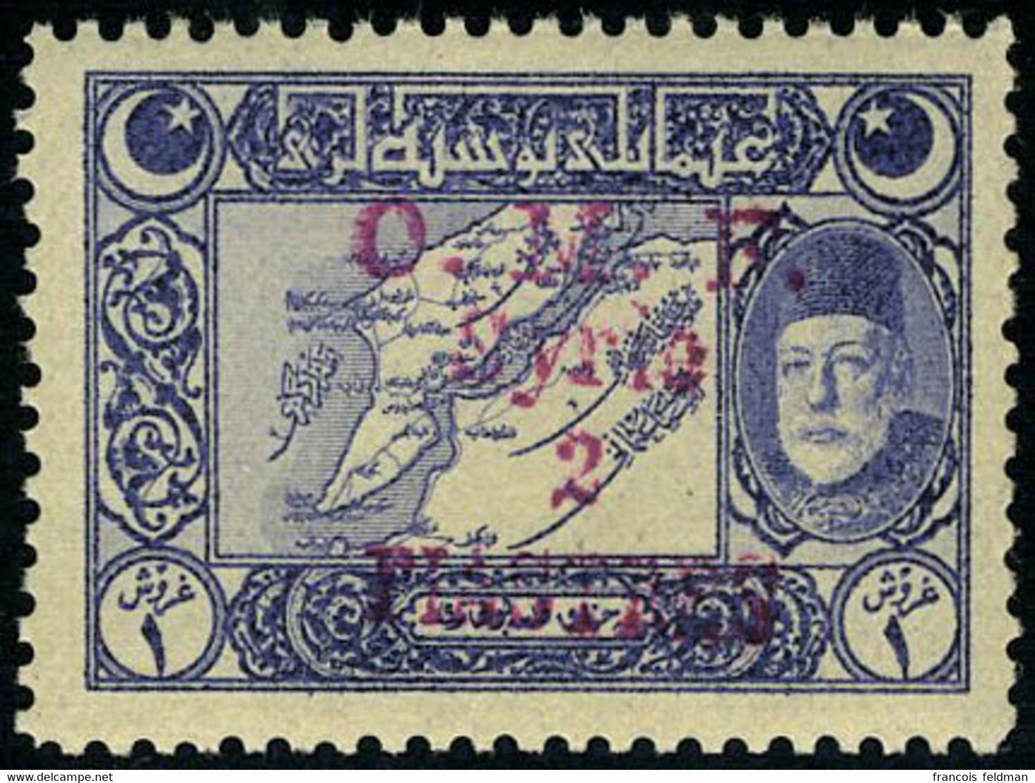 Neuf Sans Charnière N° 4, 2pi S/1pi Bleu-violet, Surcharge Rouge, TB - Sin Clasificación