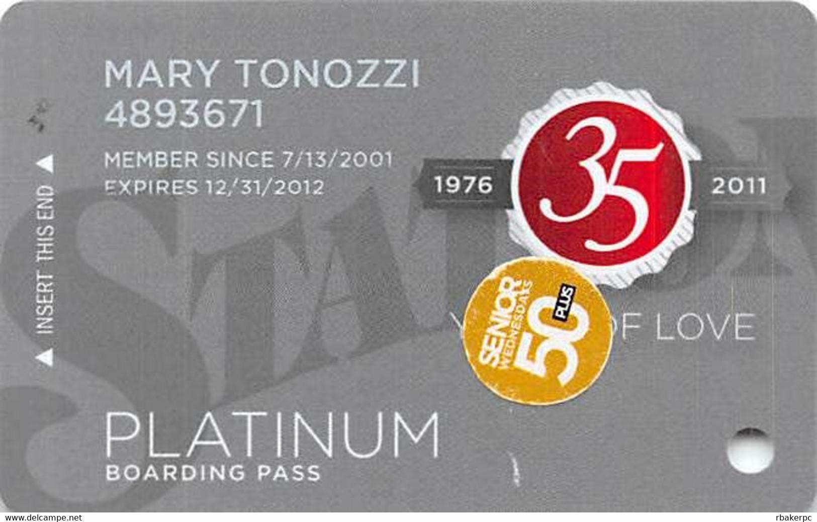 Station Casinos Las Vegas, NV - Slot Card Copyright 2011 - Platinum / Large Space Under Logos / 50+ - Casino Cards