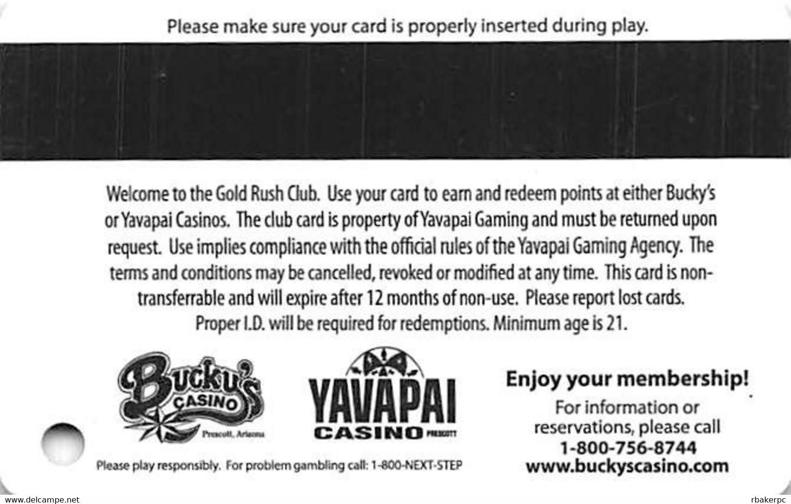 Bucky's & Yavapai Casinos Prescott AZ - Slot Card - Casino Cards