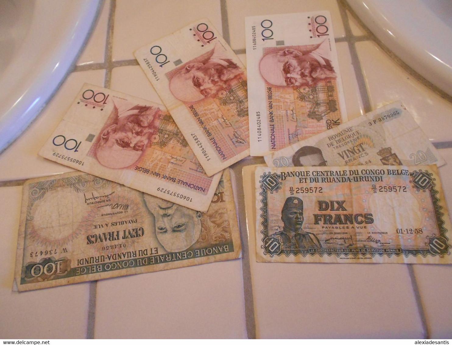 BELGIUM  CONGO  BURUNDI    -  6  BILLETS  LOT - 100 Franchi