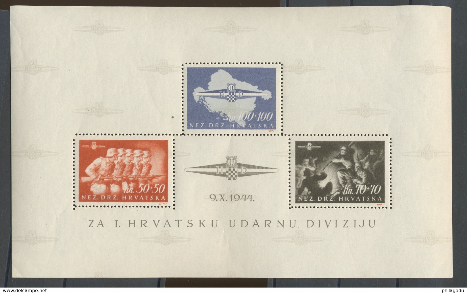 1945 Légion Des S.S. Croates. Bloc 9. Infime Charnière, Petit Pli Dans Un Coin. Cote. 1100-euros Mi.2200-€ - Croatie