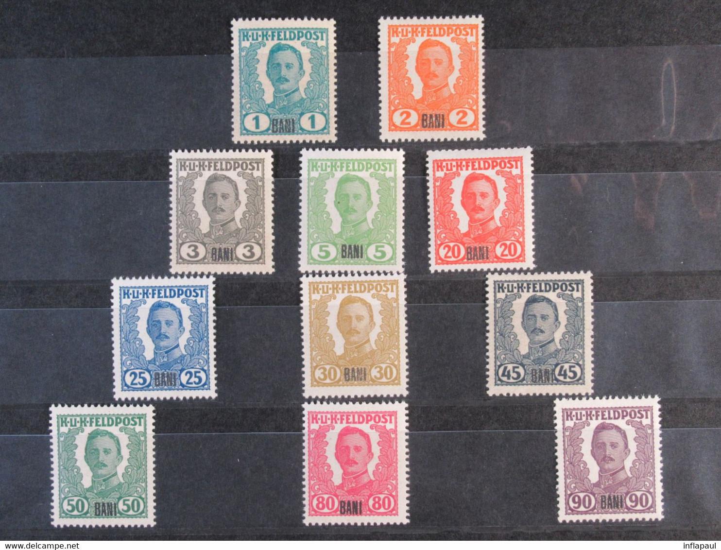 Unverausgabte Österreichische-ungarische Feldpostmarken Für Rumänien ,Teilserie **/MNH Ex I/XIII O. Nr.V U. XI 1700,00 M - Neufs