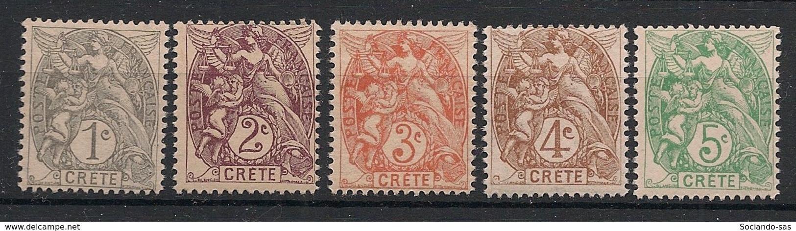 Crète - 1902-03 - N°Yv. 1 à 5 - Type Blanc - Les 5 Valeurs De 1c à 5c - Neuf Luxe ** / MNH / Postfrisch - Unused Stamps