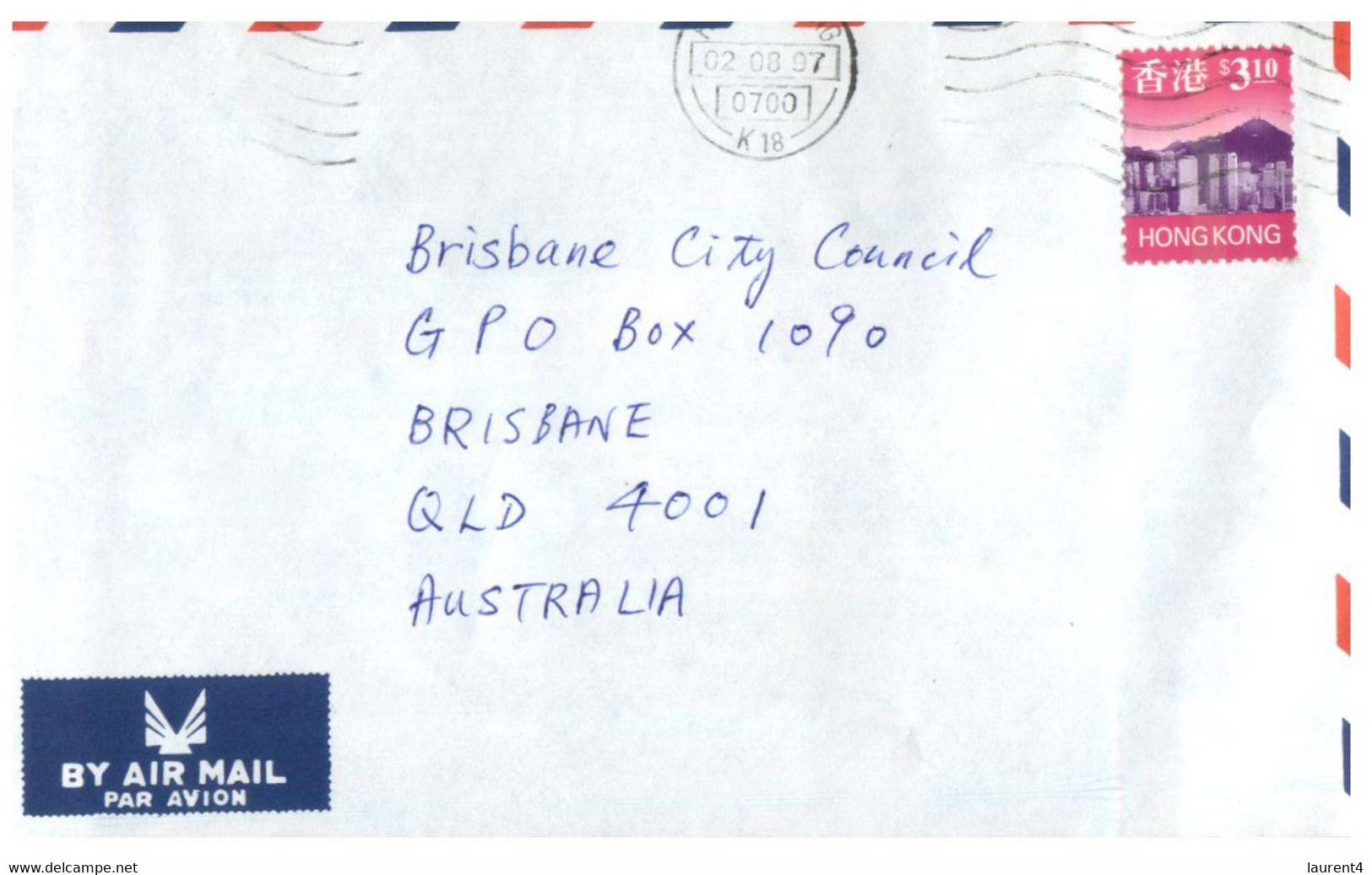 (II (ii) 31) Letter Posted From Hong Kong To Australia (2 Covers) 1997 & 1999 - Cartas
