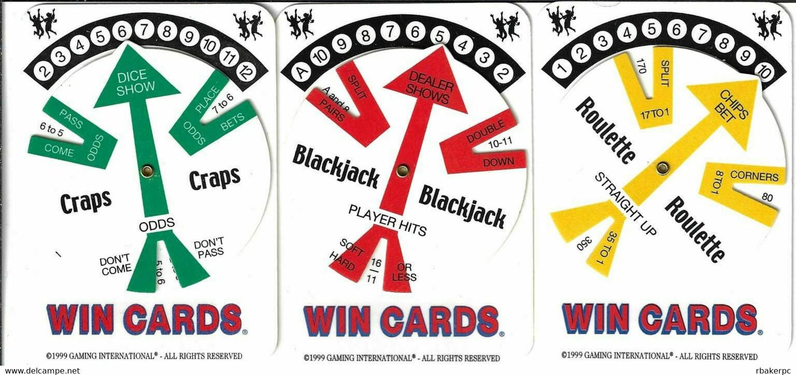 Set Of 3 Generic Casino WinCards (c) 1999 - Craps, Blackjack And Roulette - Casino Cards