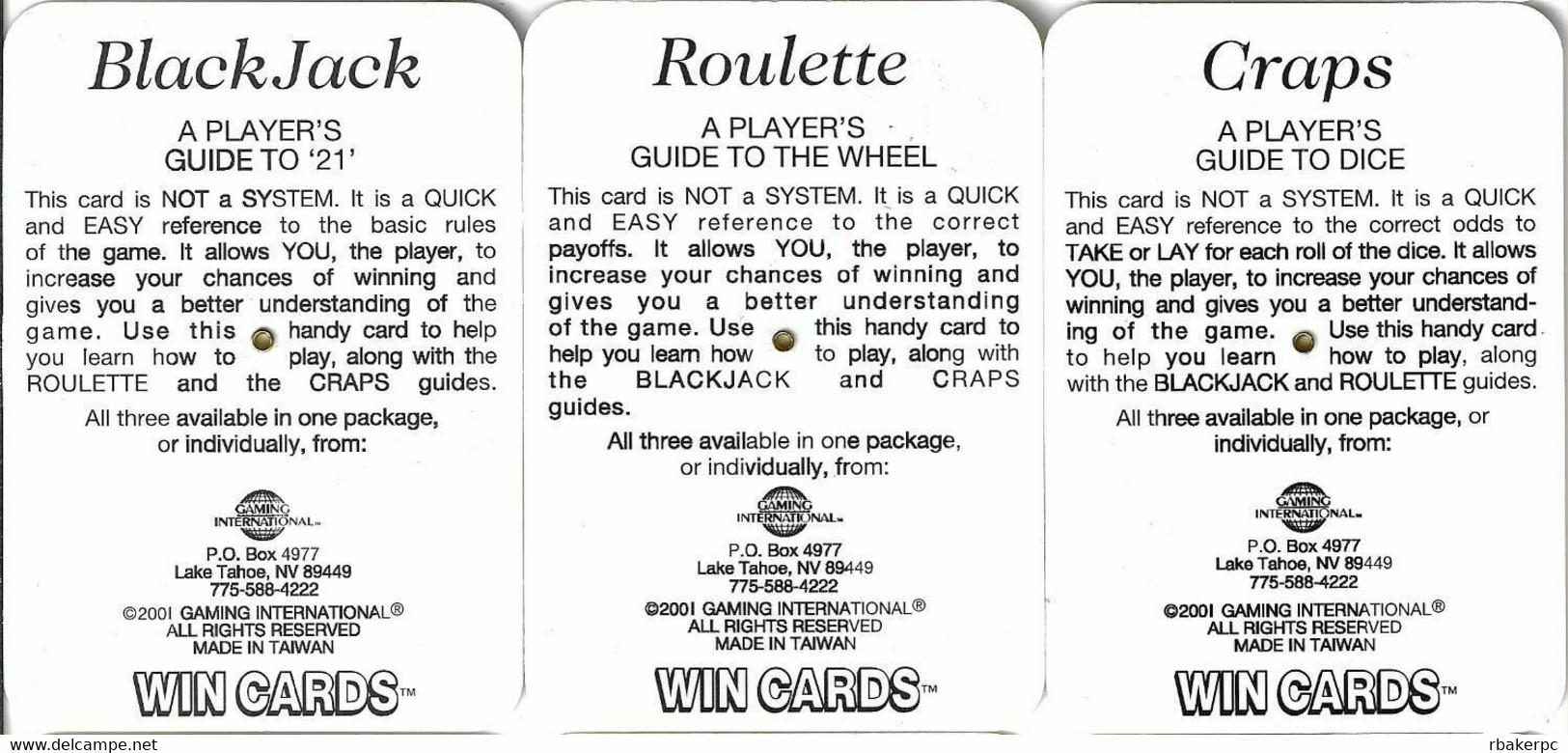 Set Of 3 Edgewater Casino WinCards (c) 2001 - Craps, Blackjack And Roulette - Casino Cards