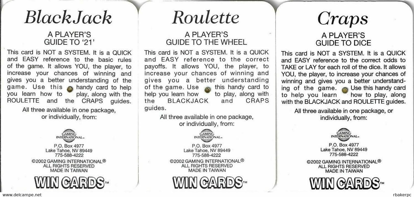 Set Of 3 Colorado Belle Casino WinCards (c) 2002 - Craps, Blackjack And Roulette - Casino Cards