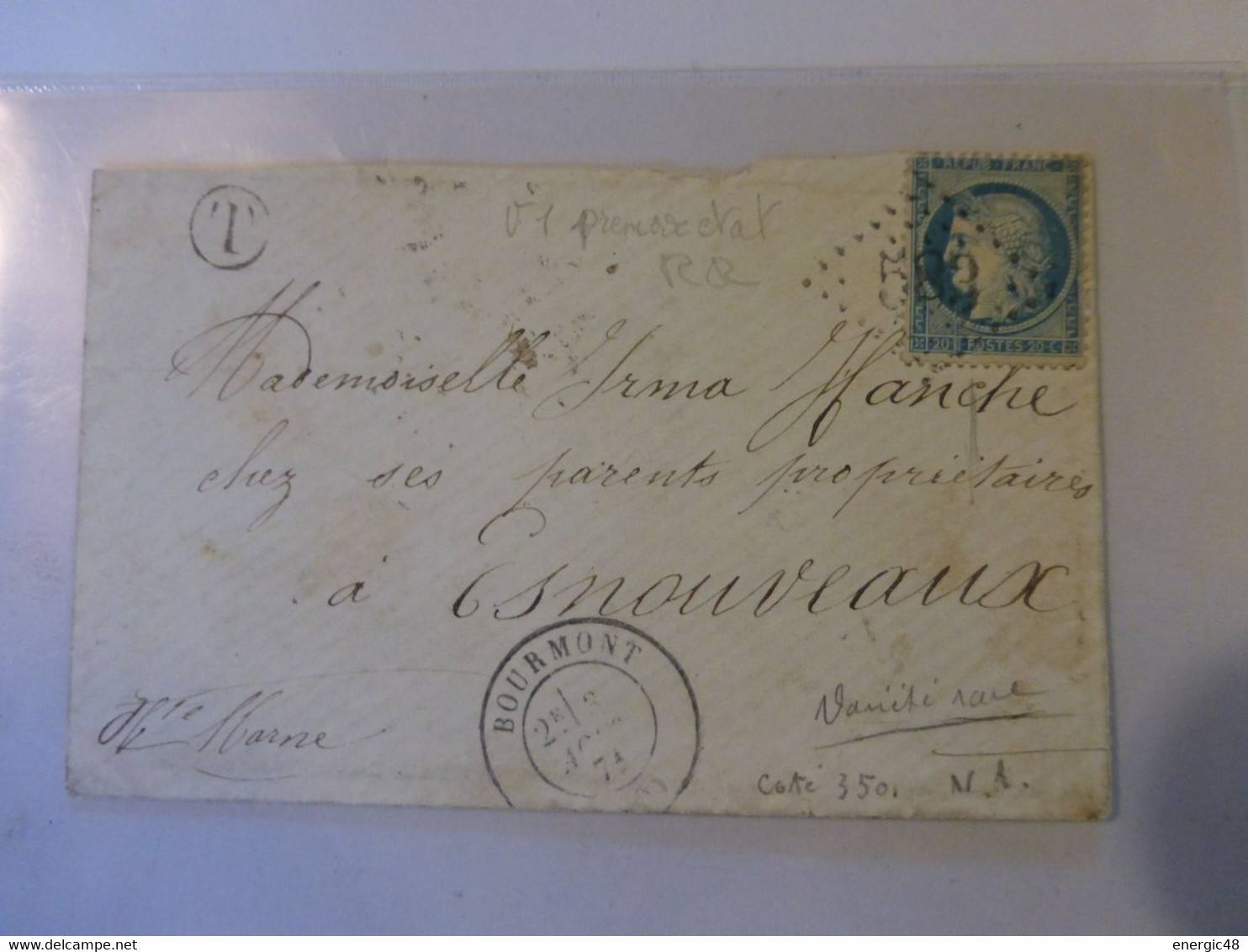 18.02.21_variété Exceptionnelle!! Variété  Suarnet 1 Premier Etat Du N°37  , Tres Rare!! - 1849-1876: Classic Period