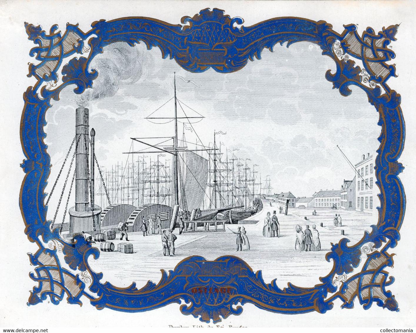 HAVEN OOSTENDE Raderboot Zeilschepen Veerdienst 1846 Oostende Dover Litho. Daveluy - Stoomschip :  De DIAMANT - Cartes Porcelaine