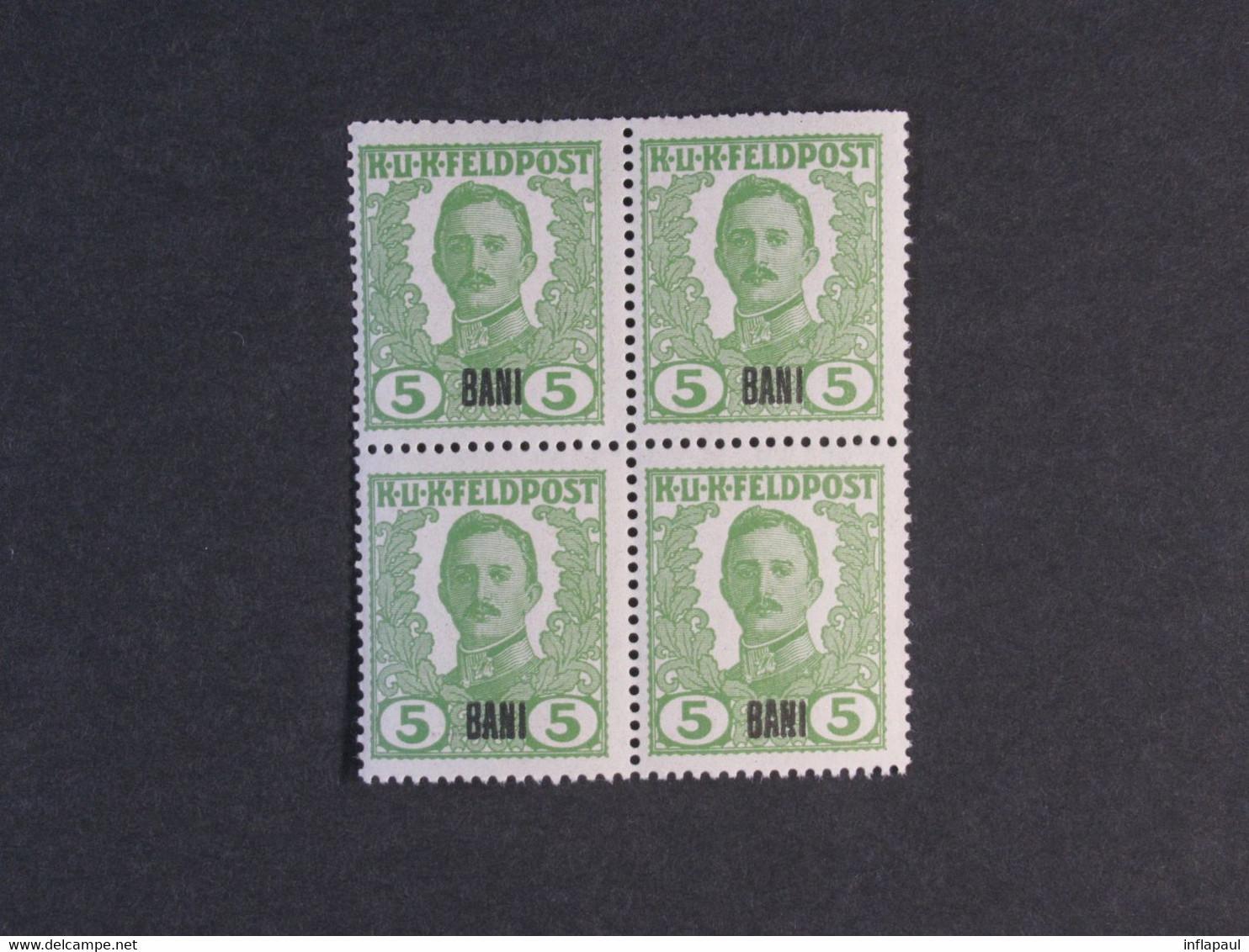 Unverausgabte Österreichisch - Ungarische  Feldpostmarken ** Für Rumänien In  Viererblöcken,Teilserie 6800,00 € - Ongebruikt