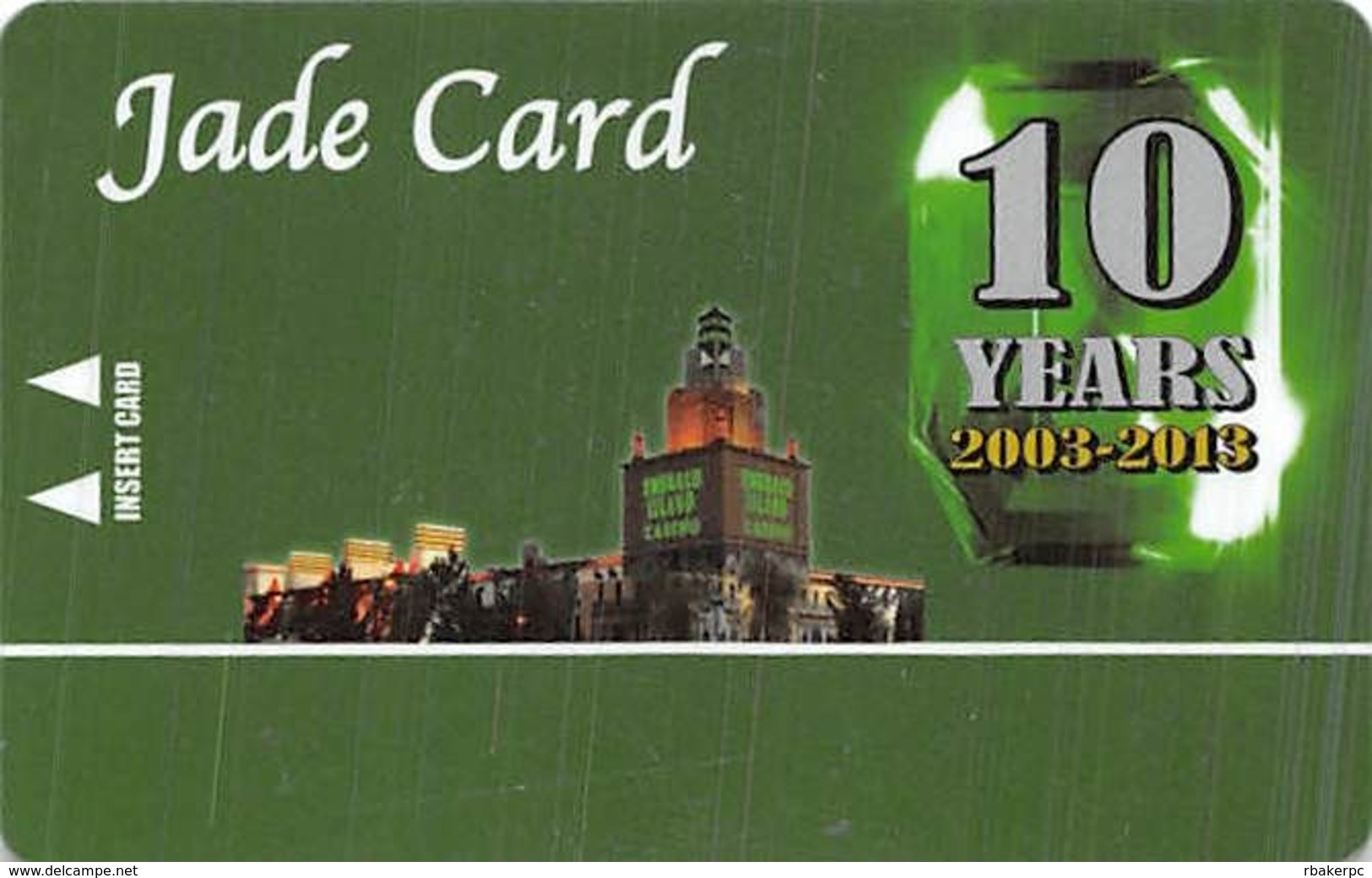 Emerald Island Casino - Henderson NV - BLANK Jade 10 Yr Anniversary Slot Card - Casino Cards