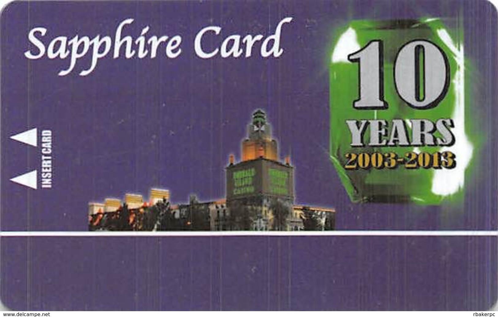 Emerald Island Casino - Henderson NV - BLANK Sapphire 10 Yr Anniversary Slot Card - Casino Cards