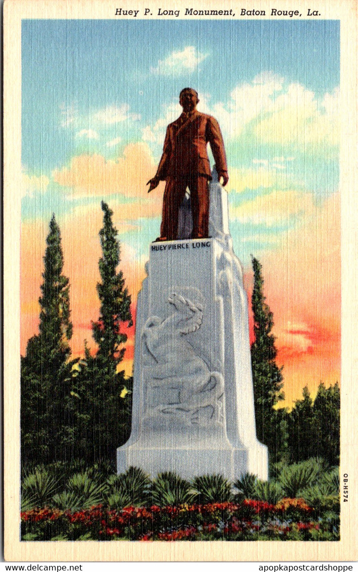 Louisiana Baton Rouge Huey P Long Monument Curteich - Baton Rouge