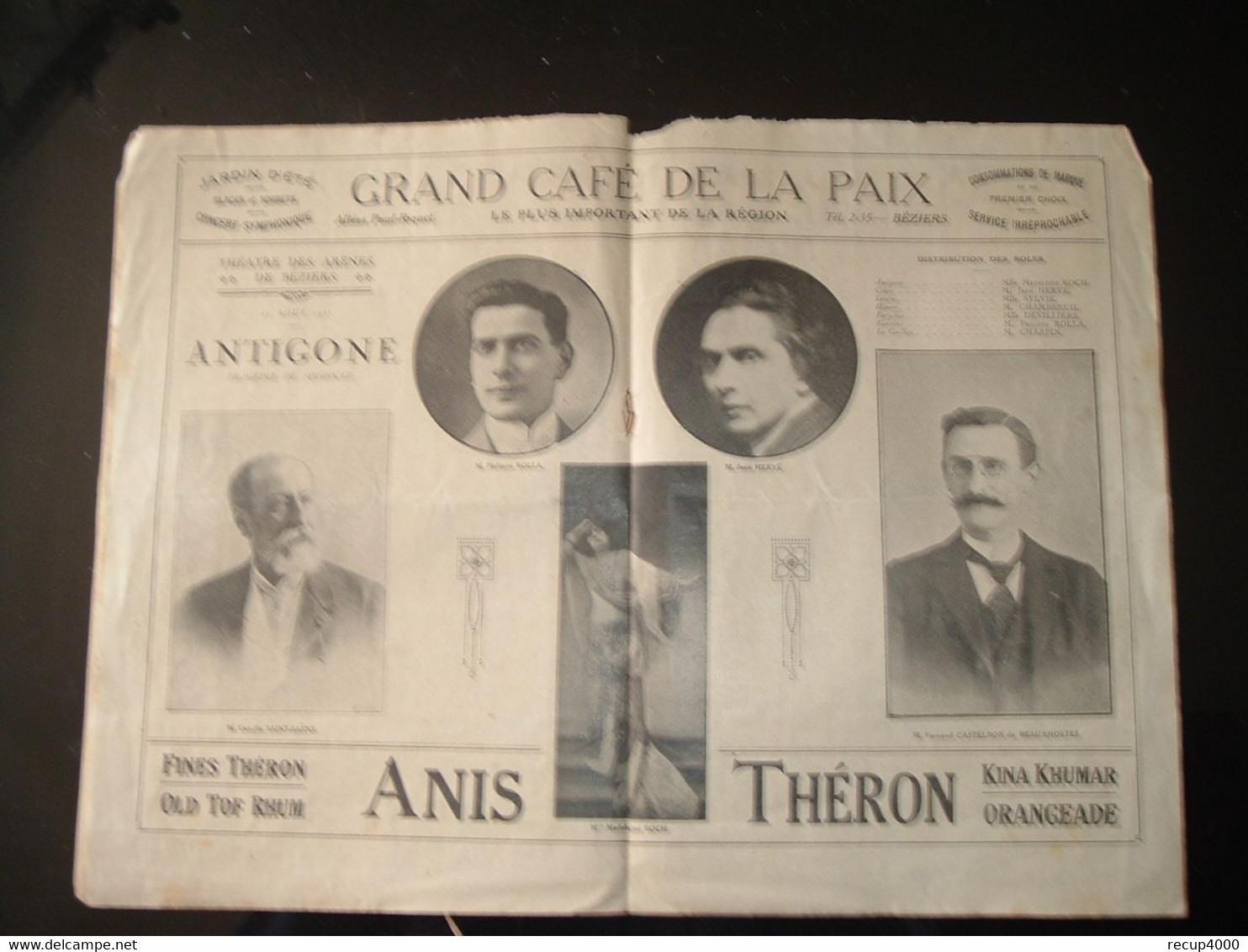 BEZIERS Programme  ANTIGONE  1921 Théâtre Des Arènes  4scans - Programmi