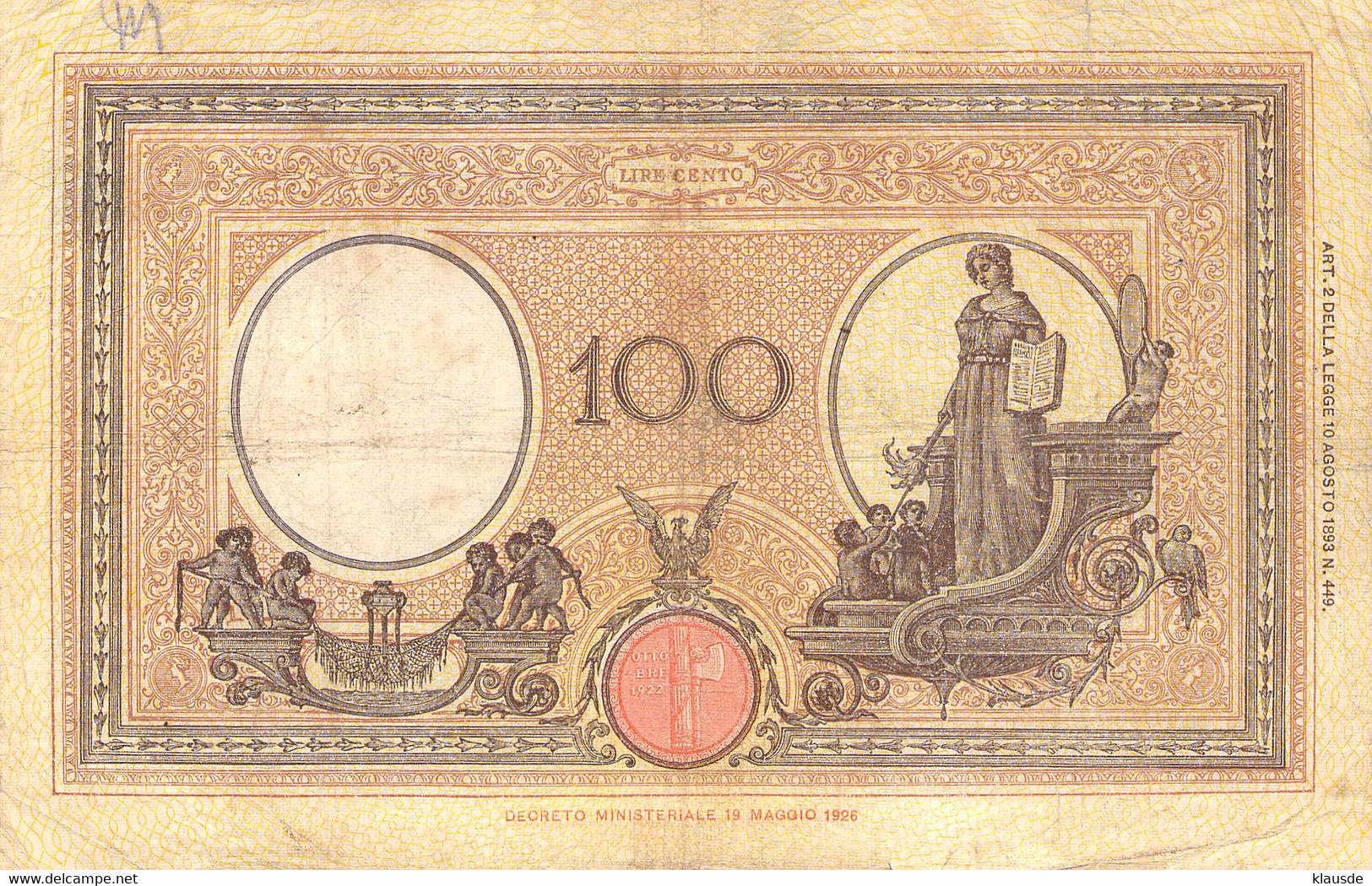 Italien 100 Lire Geldschein Banknote 1925 VG/G III - 100 Lire