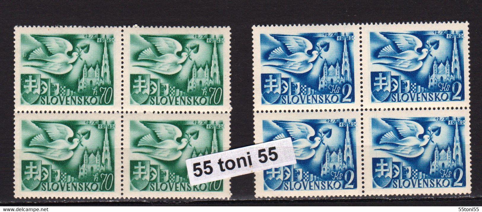 1942, Postkongress- Wien, (pigeon ;coats Of Arms)   Michel 102 + 104 – MNH X 4 Slovakia - Nuevos