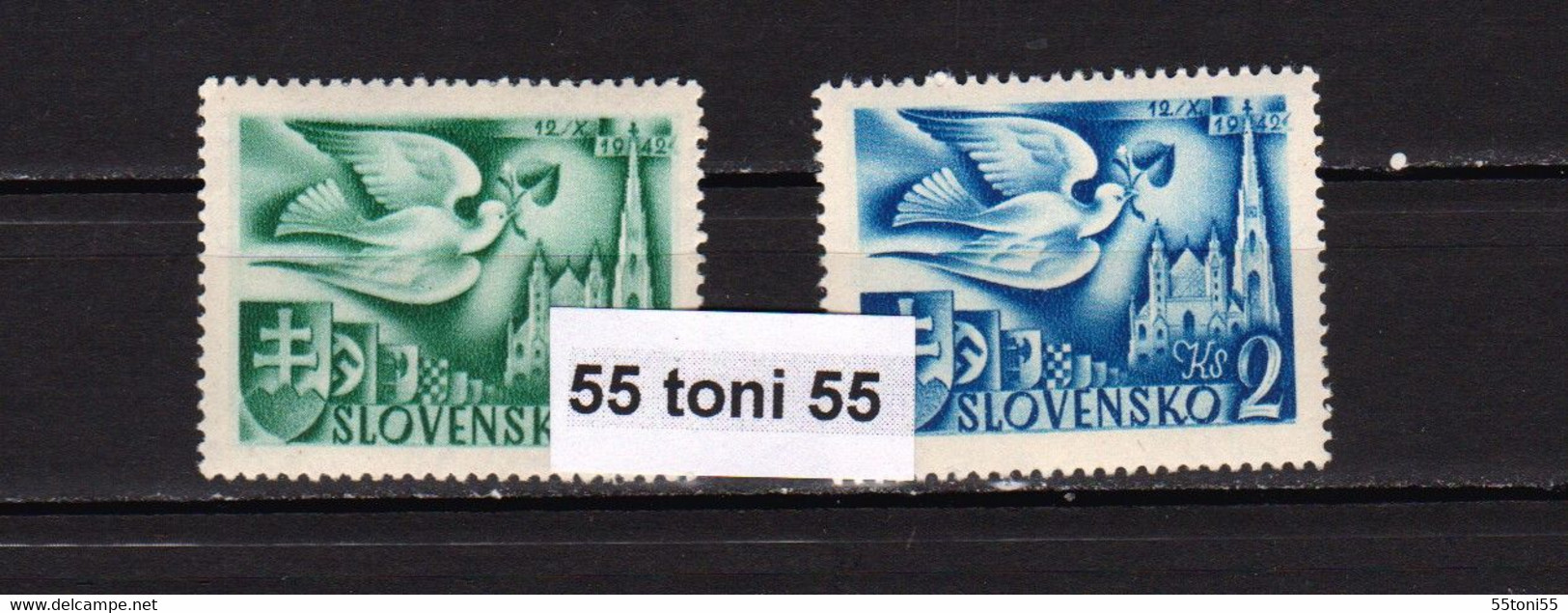 1942, Postkongress- Wien, (pigeon ;coats Of Arms)   Michel 102 + 104 – MNH Slovakia - Nuevos
