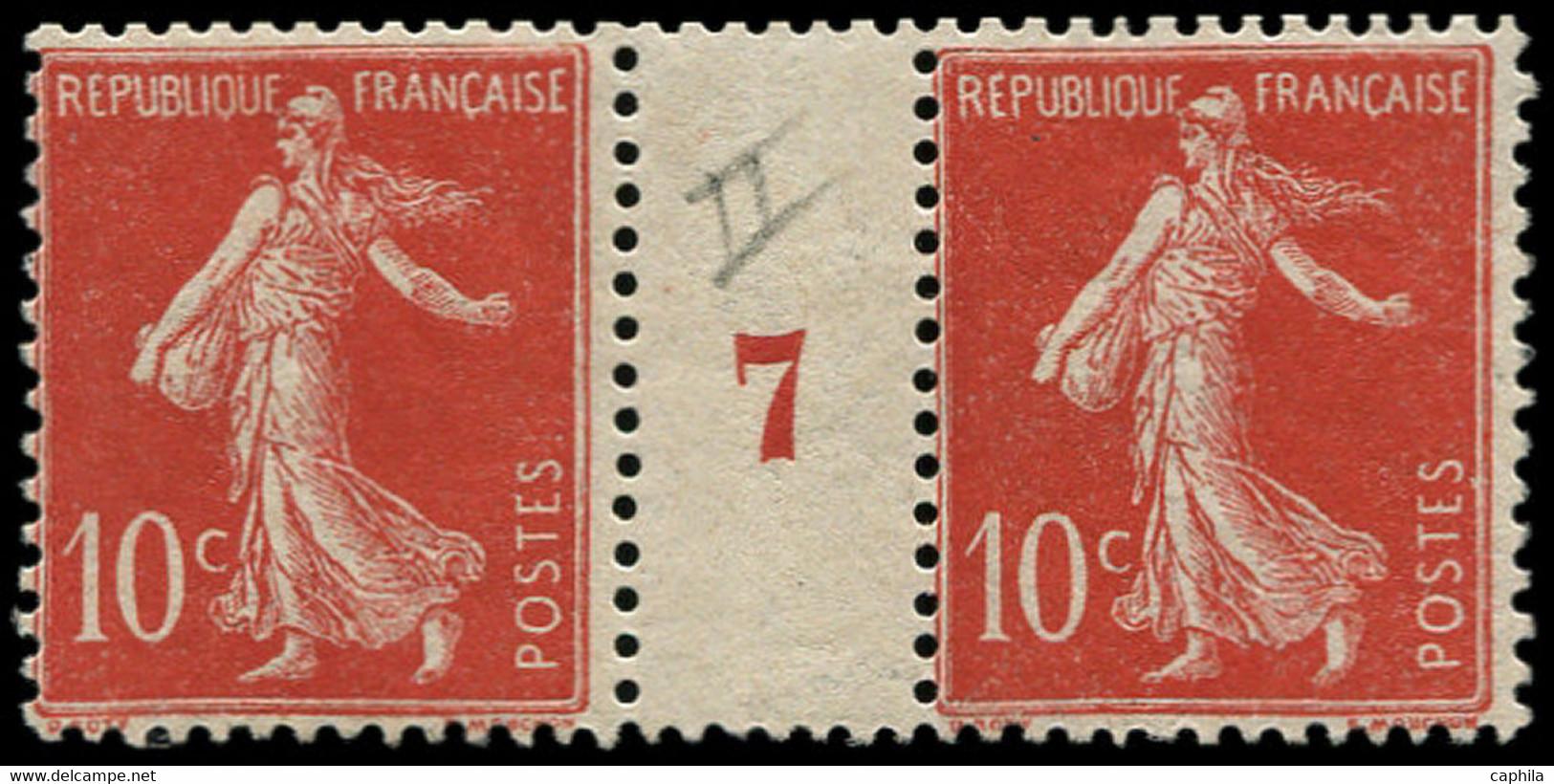 "** FRANCE - Poste - 135, Type IIa, Paire Millésime ""7"", Pli Sur Millésime: 10c. Semeuse Rouge - Unused Stamps"