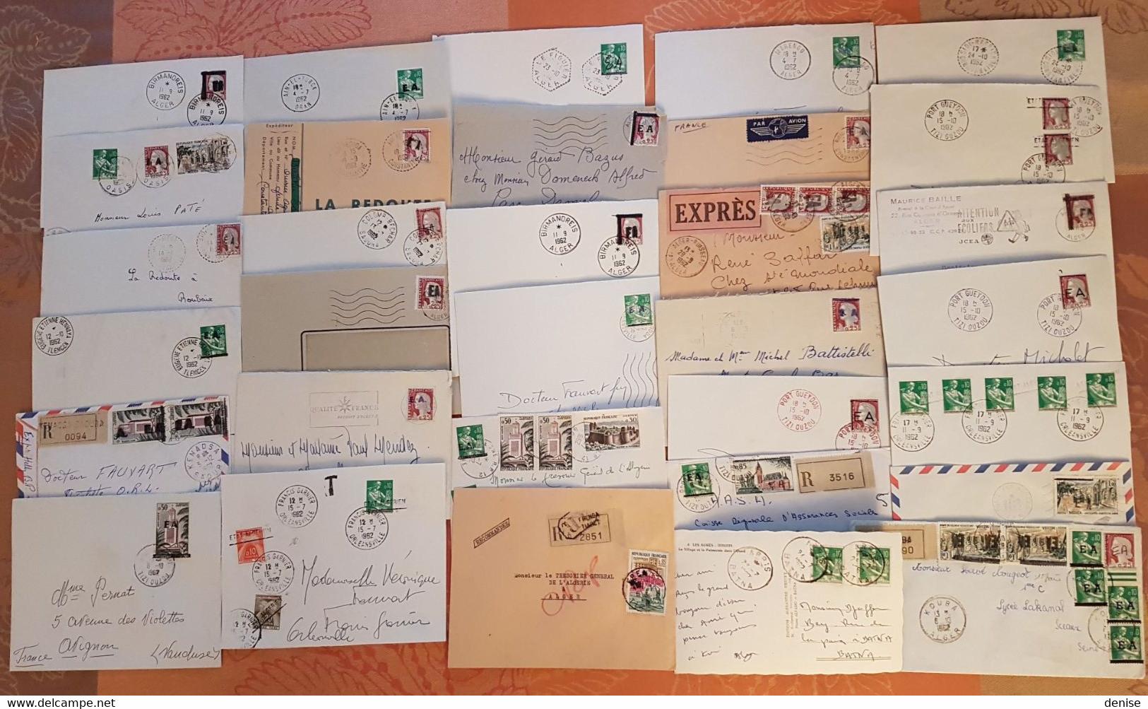 Algérie - Lot De 32 Lettres Avec Surchargés EA - Départ 1 Euro - Brieven En Documenten