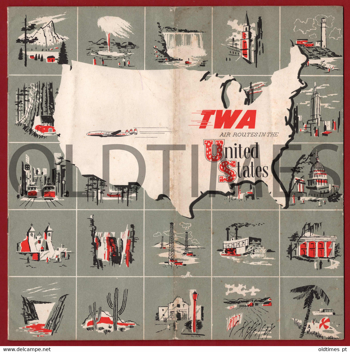USA - TWA - TRANS WORLD AIRWAYS - AIR ROUTES IN UNITED STATES - FLIGHT MAP - 1950 - World