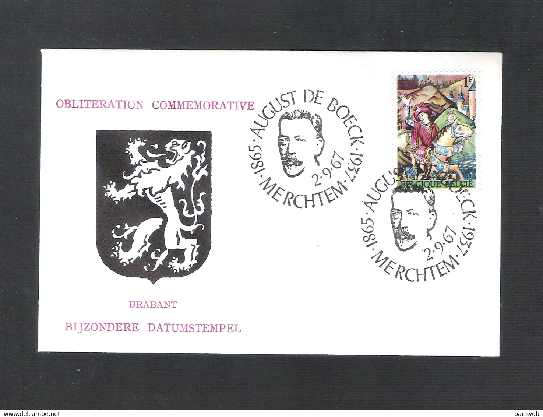 MERCHTEM - BIJZONDERE DATUMSTEMPEL BRABANT  -  AUGUST DE BOECK 1865-1937   -  DD. 2 - 9 - 1967 - OMSLAG (D 076) - Souvenir Cards