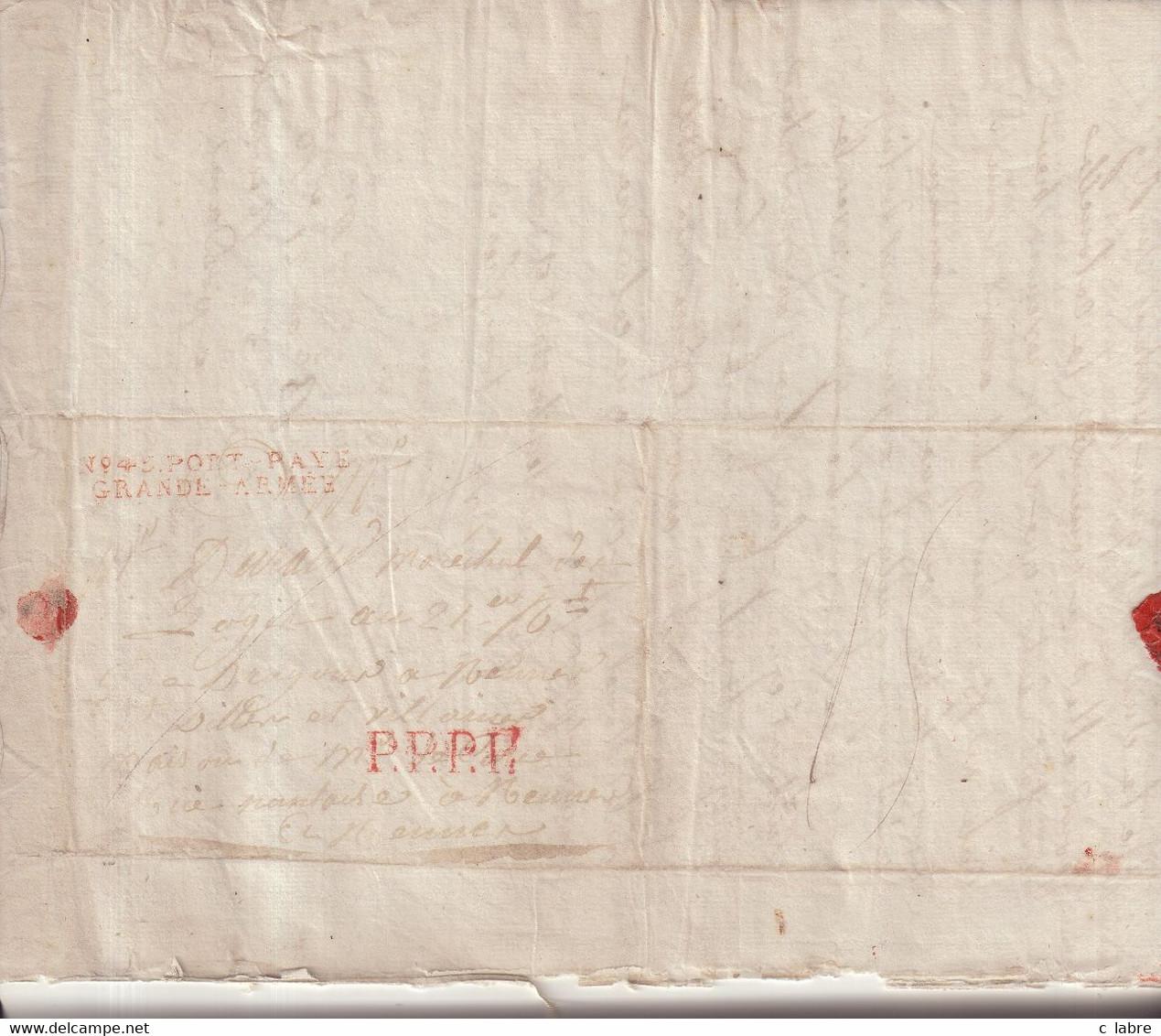 "FRANCE : MP . "" N° 45 PORT PAYE GRANDE ARMEE "" . EN ROUGE . DU 03/03/1808 .  DE POSTDAM .POUR RENNES . - Army Postmarks (before 1900)"