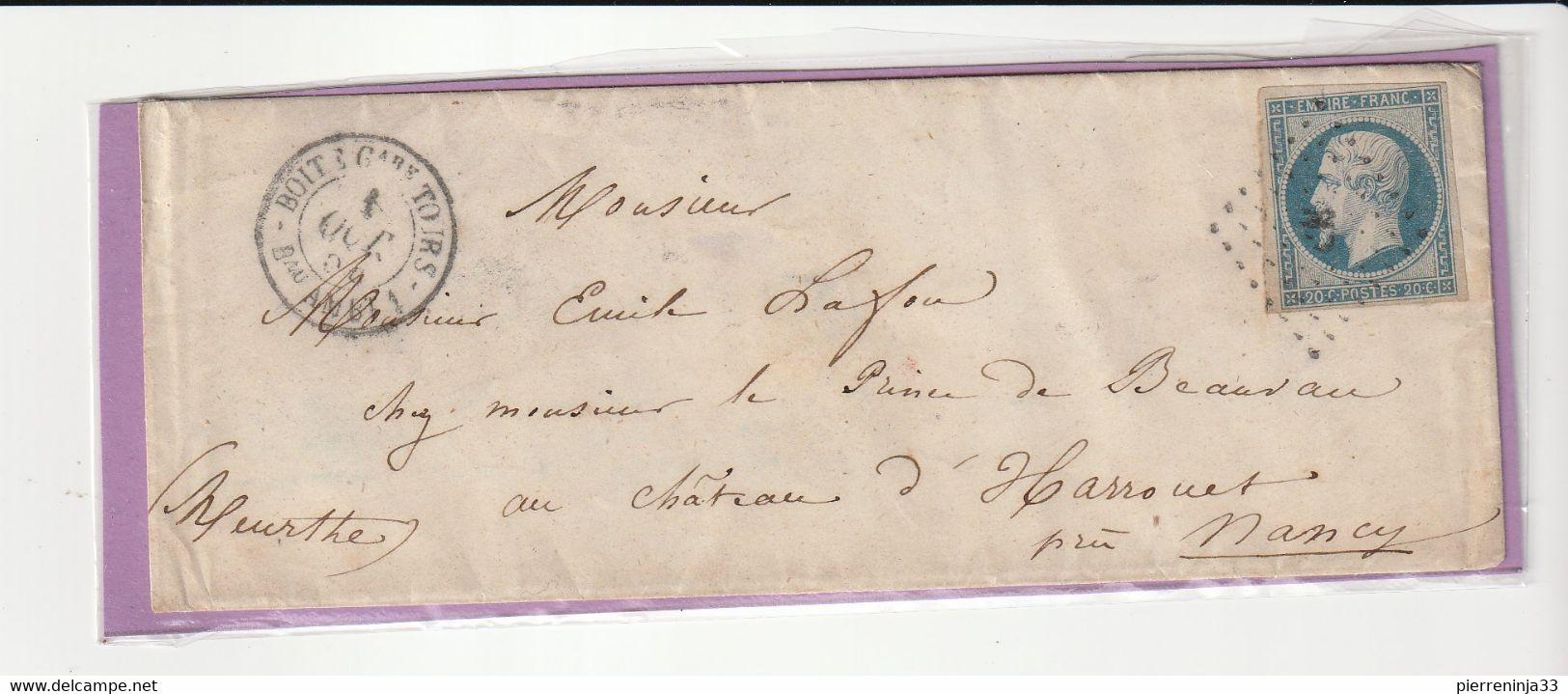 """Lettre Avec Classiques De France: Napoléon N°14 I, Oblitération """"Boîte Gare Tours/Bureau Ambulant """" - Unclassified"""