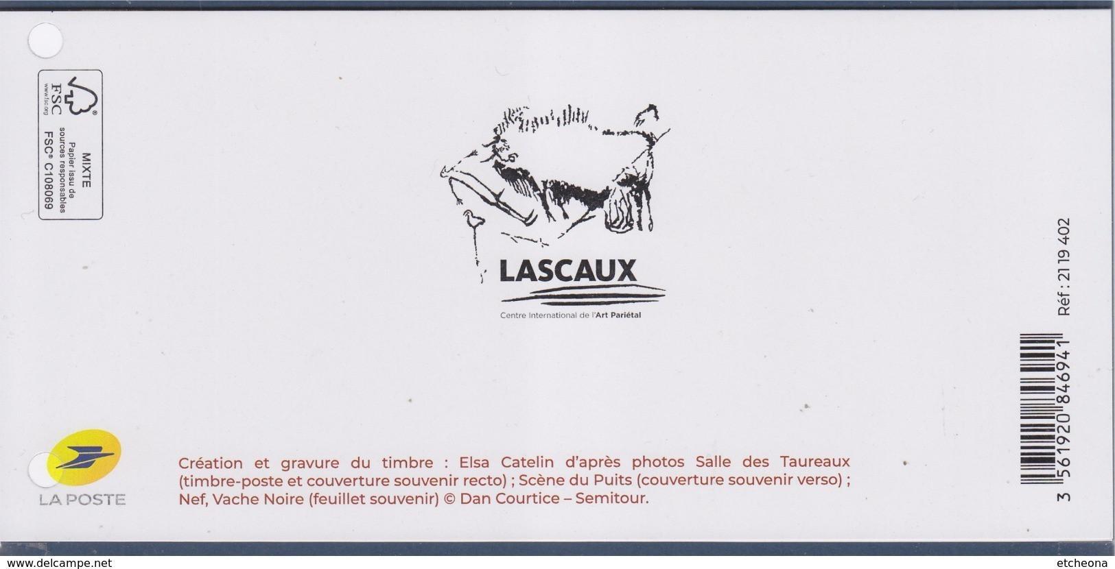 Lascaux Souvenir Philatélique Art Pariétal De La Salle Des Taureaux BS154 Timbre 5318 Dans Encart - Souvenir Blocks & Sheetlets