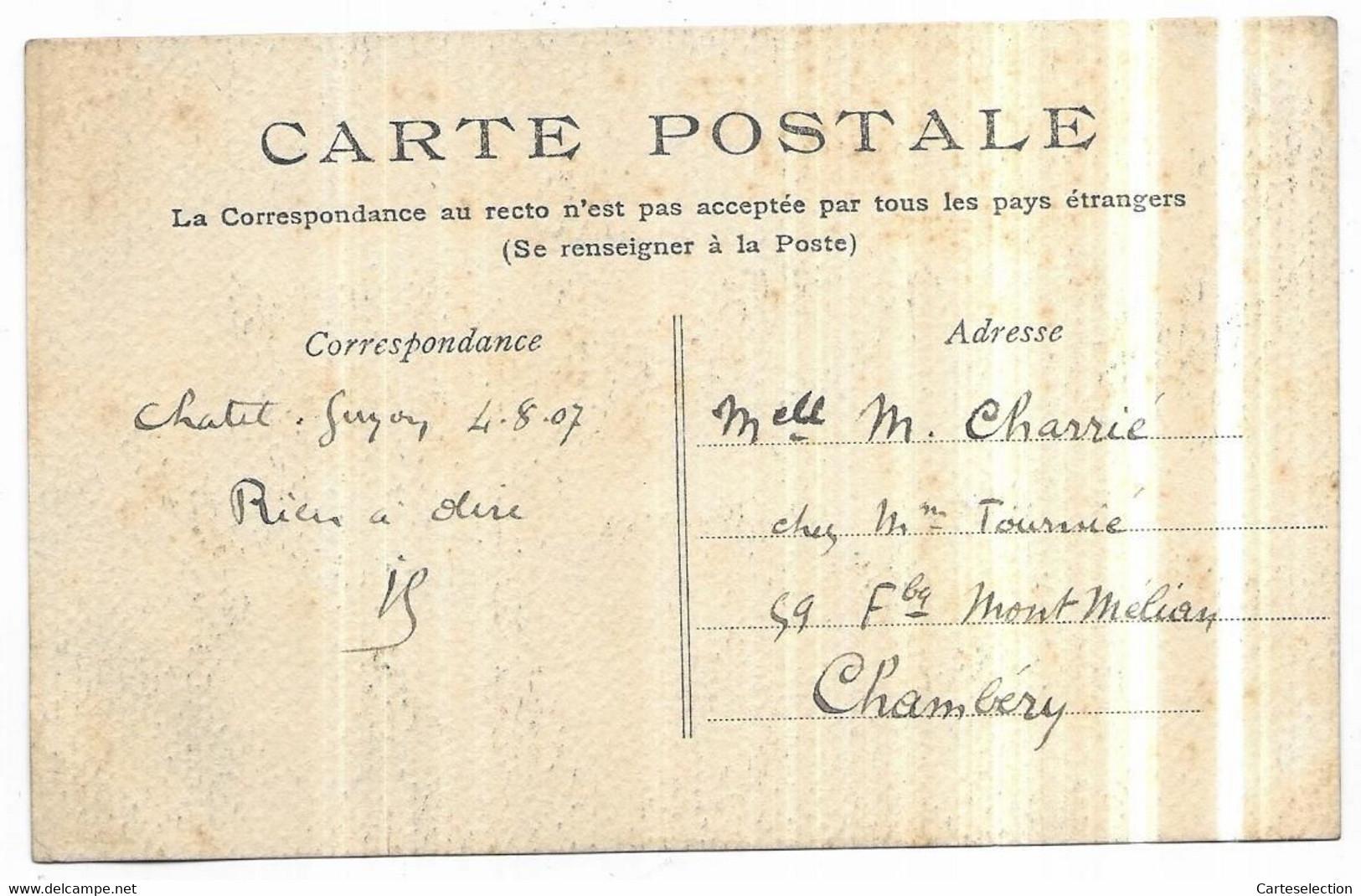 Carte Peinte Collage Femme Courant Après Un Cerceau Avec Un Baton à La Main Signé Jean 4/08/1907 - Other Illustrators