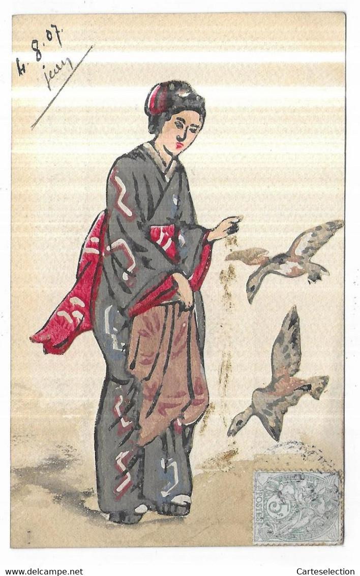 Carte Peinte Collage Femme Donnant à Manger à  Des Canards Signé Jean 4/08/1907 - Other Illustrators