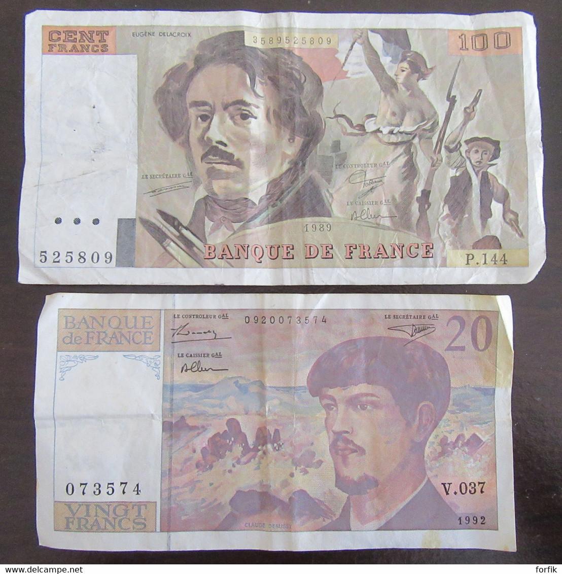France - 4 Billets Dont 3 X 100 Francs Delcaroix 1989 Et 20 Francs Debussy 1992 - TB à TTB - 100 F 1978-1995 ''Delacroix''