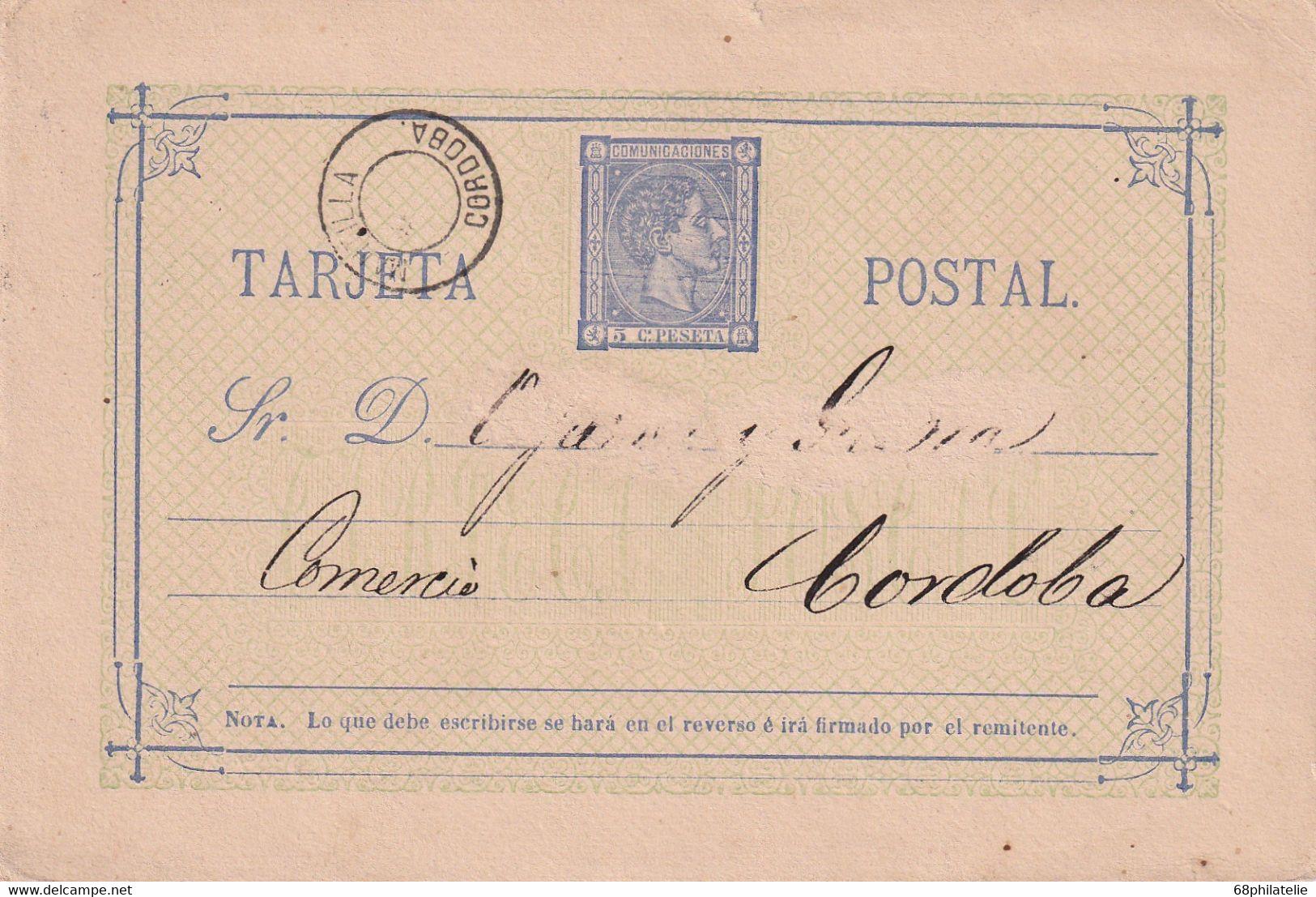 ESPAGNE   ENTIER POSTAL/GANZSACHE/POSTAL STATIONARY  CARTE DE CORDOBA - 1850-1931