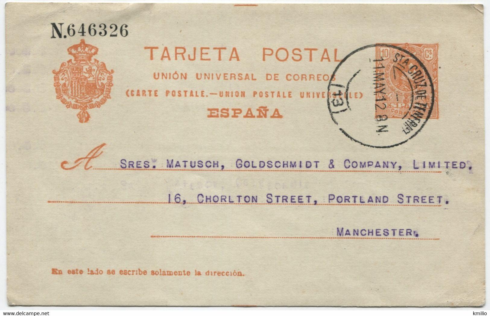 Ed 53. 1912, Entero Postal De Tenerife A Manchester - 1850-1931