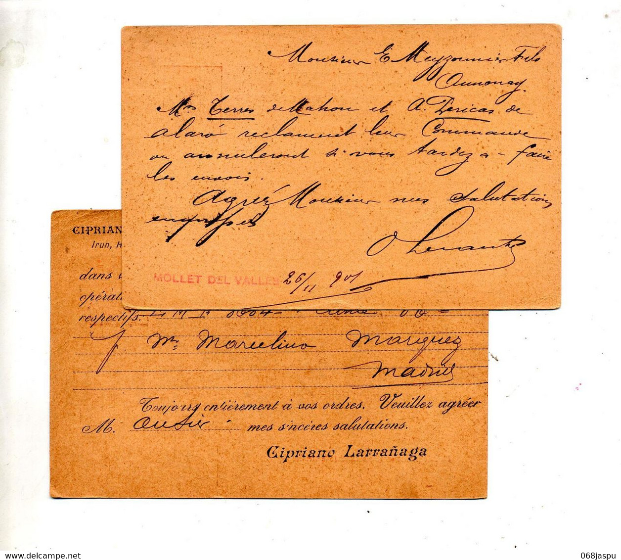 Carte Postale 10 Roi Cachet Irun  Hendaye à Bayonne Annonnay - 1850-1931