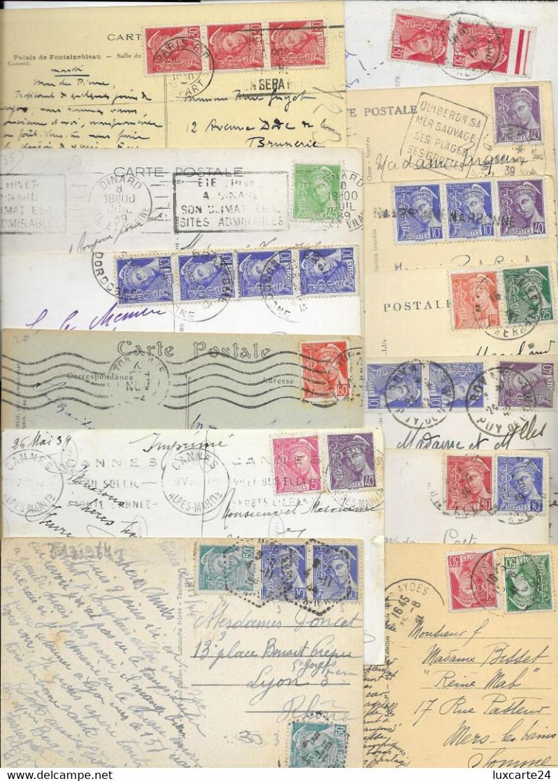 LOT DE 100 CARTES AVEC TIMBRE MERCURE - 1938-42 Mercurius