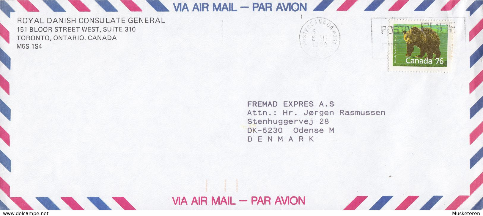Canada ROYAL DANISH CONSULATE GENERAL, TORONTO Ontario 1989 Cover Brief ODENSE Denmark Brown Bear Bär Stamp - Cartas
