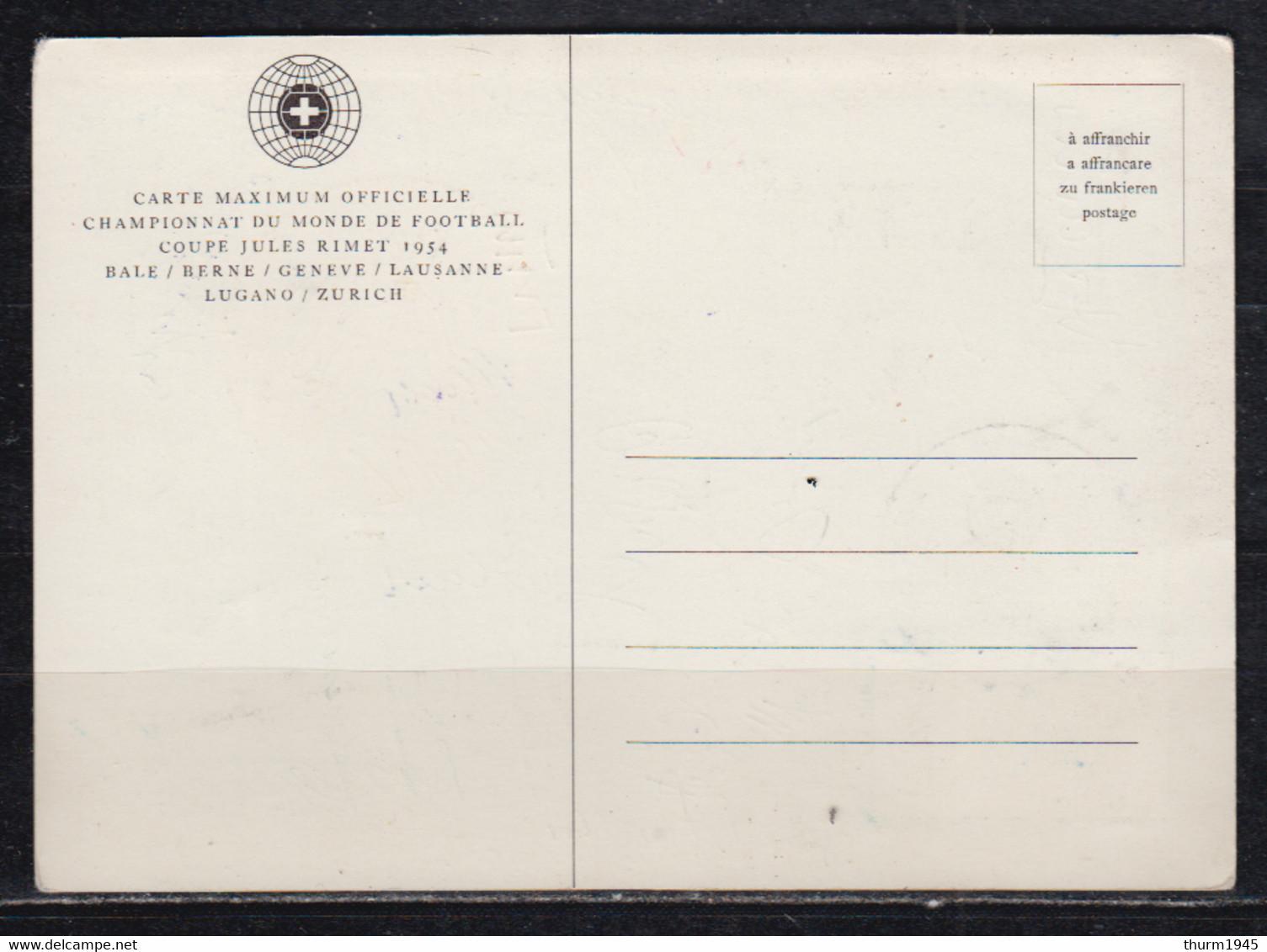 Schweiz/Deutschland 1954  MiNo. 596 Auf Amtl.Maxikarte O Endspiel 4.VII.54 Und Unterschriften Herberger  + Mannschaft - Covers & Documents
