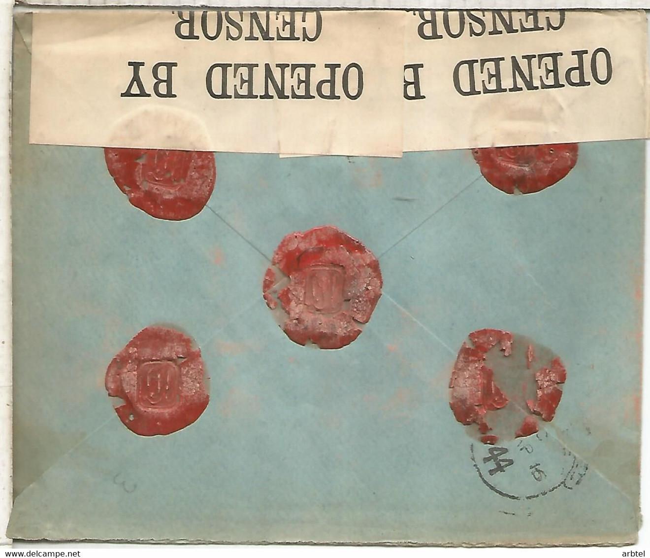 BARCELONA 1916 CC CERTIFICADA A LONDRES SELLOS ALFONSO XIII MEDALLON CON CENSURA BRITANICA - Covers & Documents