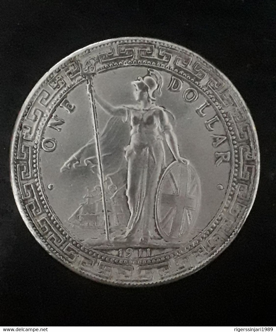 CHINA HONG KONG British Trade One Dollar BIG Coin 1911 XF - Foreign Trade, Essays, Countermarks & Overstrikes