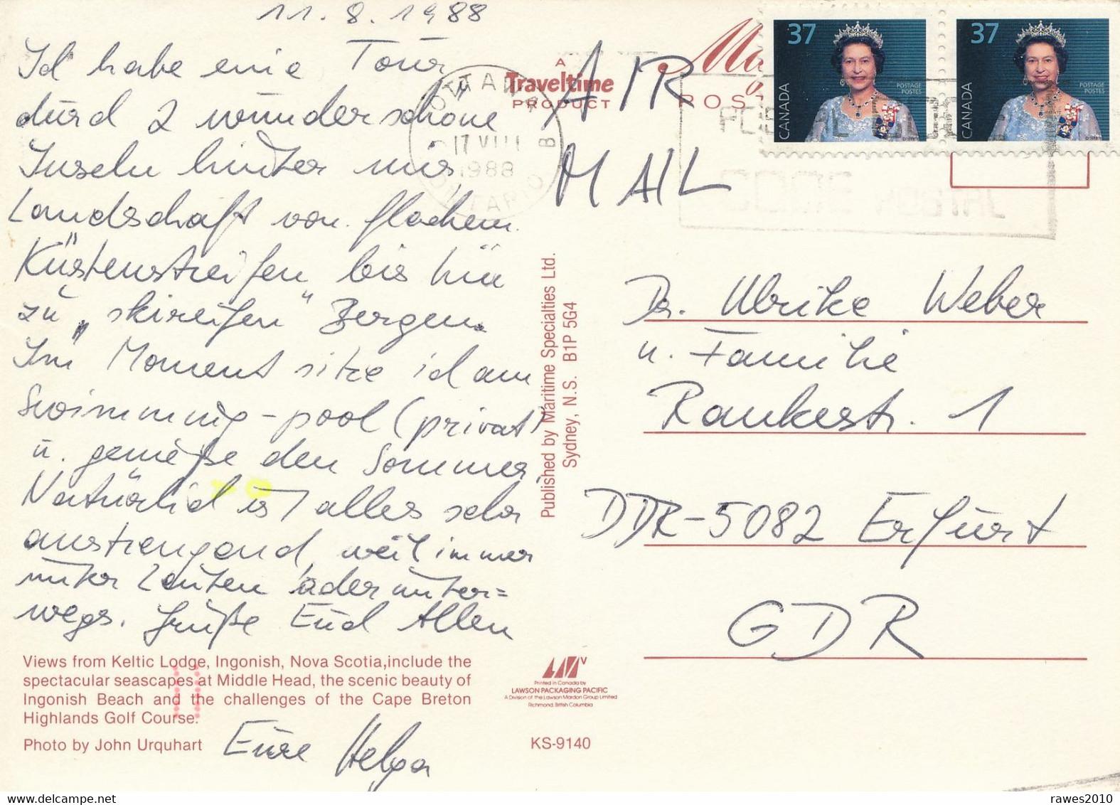 Kanada Ottawa MWST 1988 Mi. 1069 Paar Königin Elisabeth II. Luftpost - Postkarte Nach DDR - Brieven En Documenten