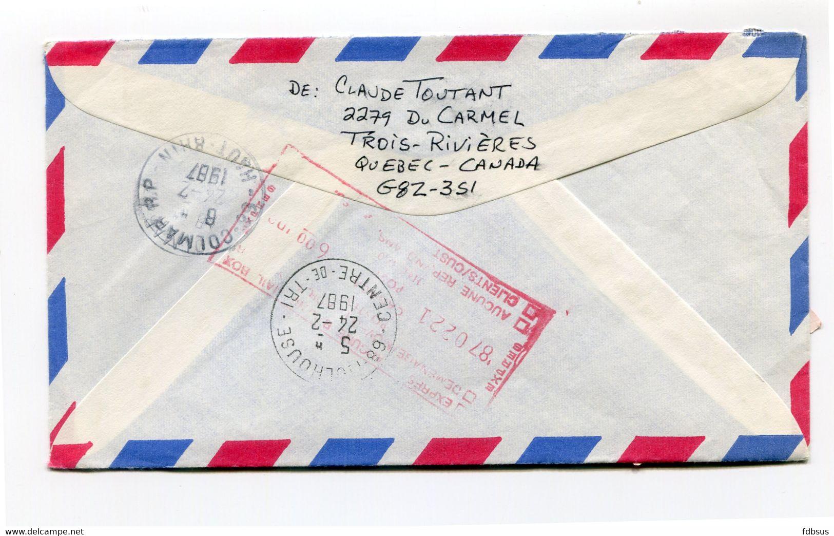 1987 TROIS RIVIERES PQ Naar Colmar France - PB Meter Compteur 500705 - 2.64 - Expres - Mulhouse - Colmar R.P.  Retour - Cartas