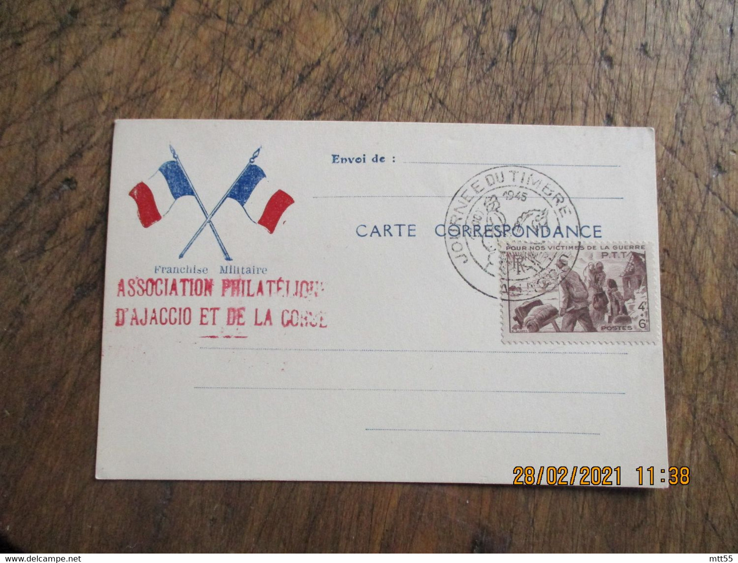 Ajaccio  Journee Du Timbre  1945  Association Philatelique Corse Et Ajaccio - 1921-1960: Modern Period