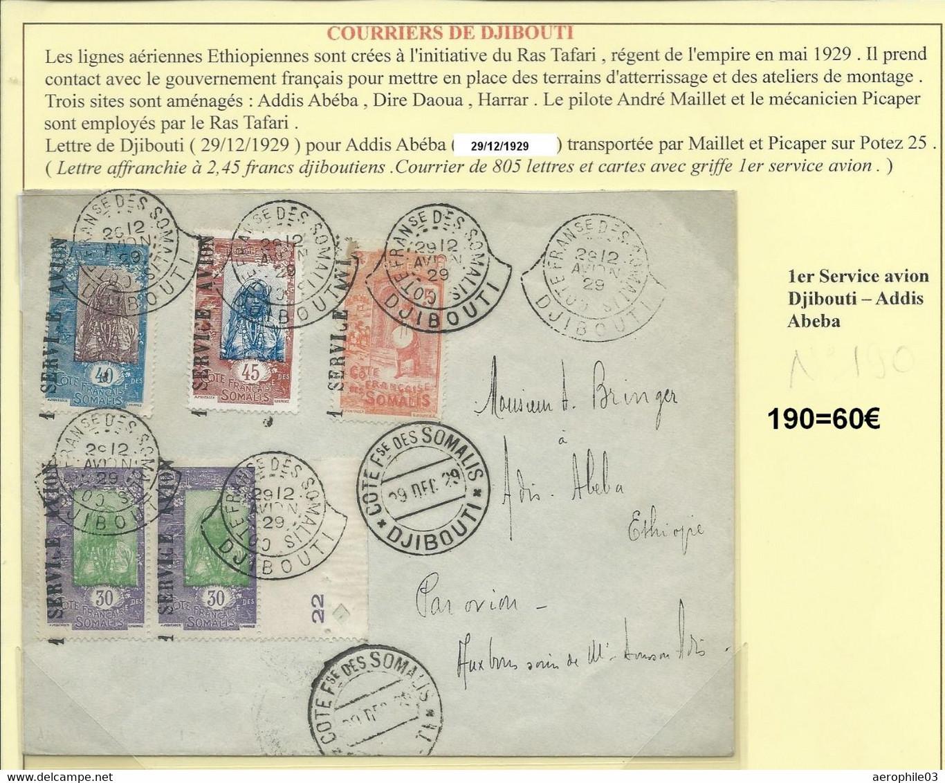 Lettre Par Avion 1er Service Djibouti Addis Abeba (Ethiopie)  190 - Cartas
