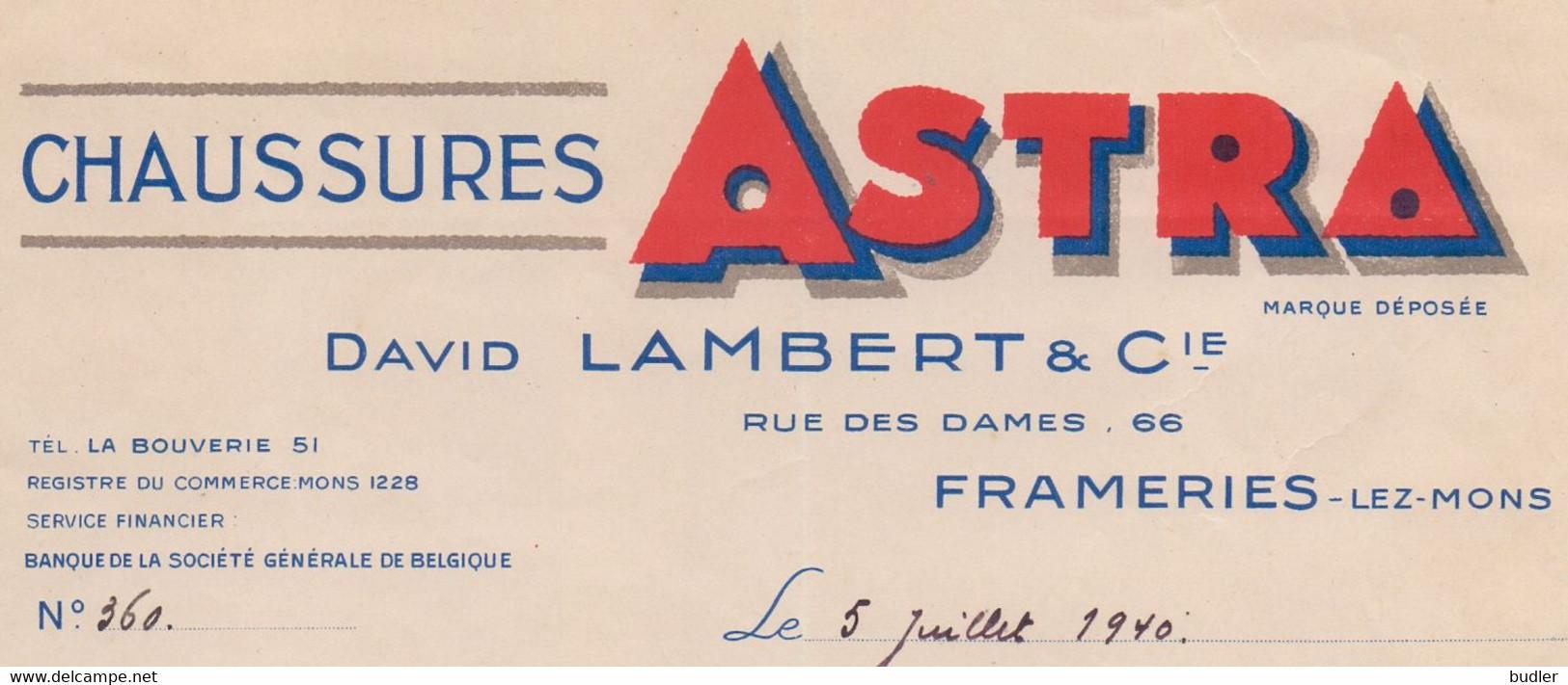BELGIË/BELGIQUE :1940: Facture De ## David LAMBERT & Cie, Rue Des Dames, 66, FRAMERIES ##  à ## Mr. DESMECHT à FONTAINE- - 1900 – 1949