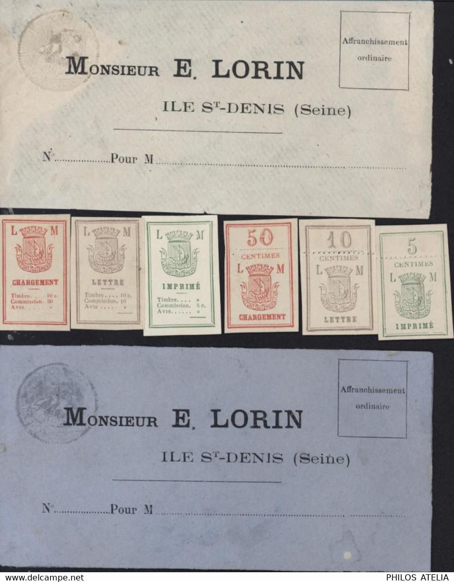 Vignettes Chargement Lettre Imprimé Et 5 10 50 + 2 Enveloppes Agence LORIN MAURY Commune De Paris Guerre 1870 - War 1870