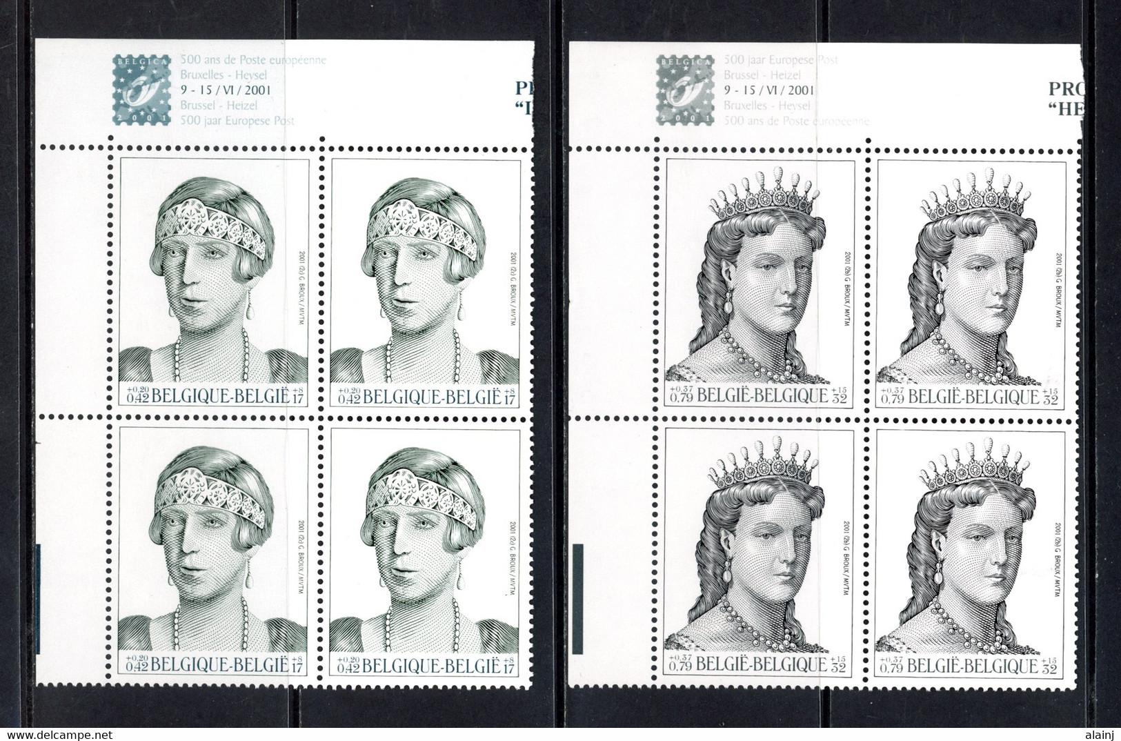 BE   2968 - 2969  XX   ---  Dynastie Belge  --  Blocs De 4 Coin De Feuille  --  Parfait état - Ongebruikt