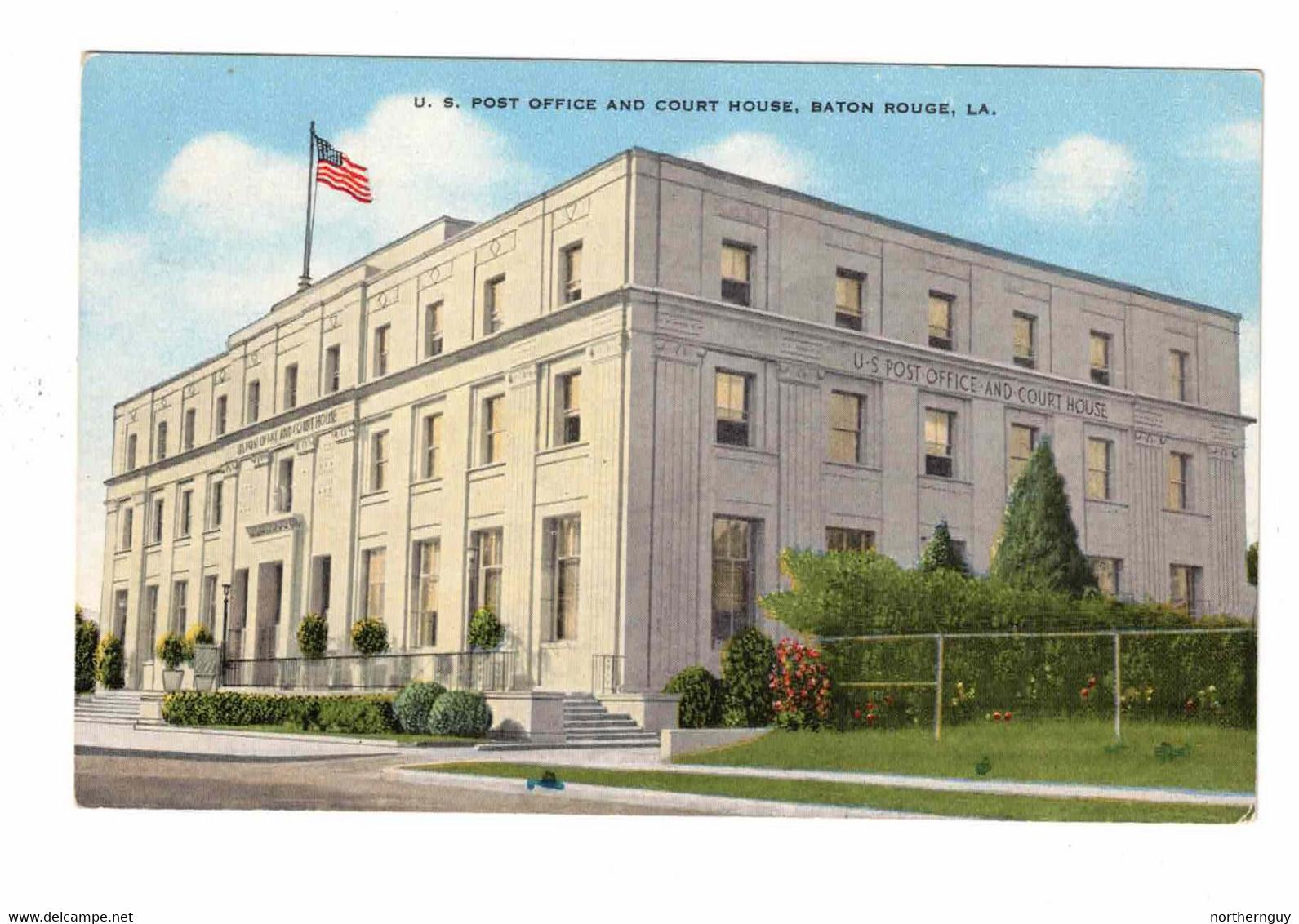 BATON ROUGE, Louisiana, USA, US Post Office & Court House, Old Linen Postcard - Baton Rouge